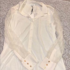 NWT Calvin Klein Lace-Sleeve Button Down